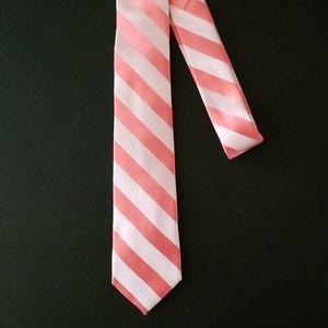 NEW! Coral Stripe Skinny Tie